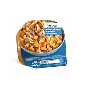 Calamari e fagioli cannellini con crema di zucca